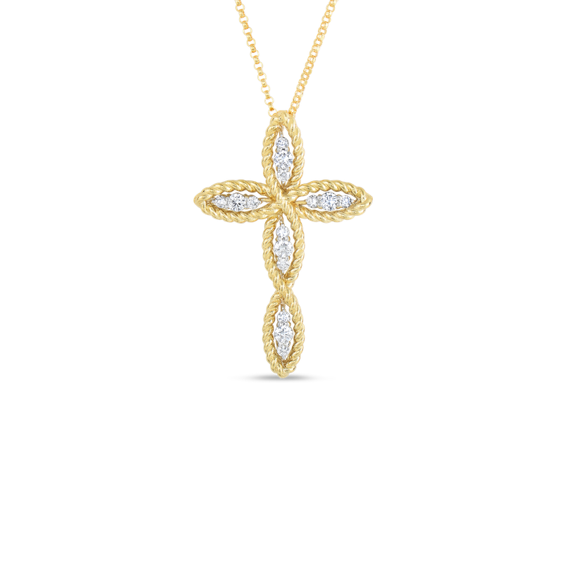 Diamond Barocco Cross Necklace .38ct (18k Yellow Gold)