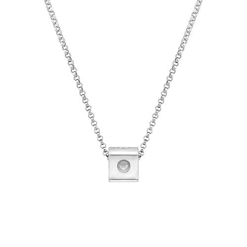 Mini Pois Moi Cube Pendant Necklace (18k White Gold)