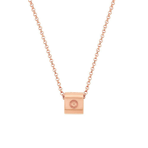 Mini Pois Moi Cube Pendant Necklace (18k Rose Gold)