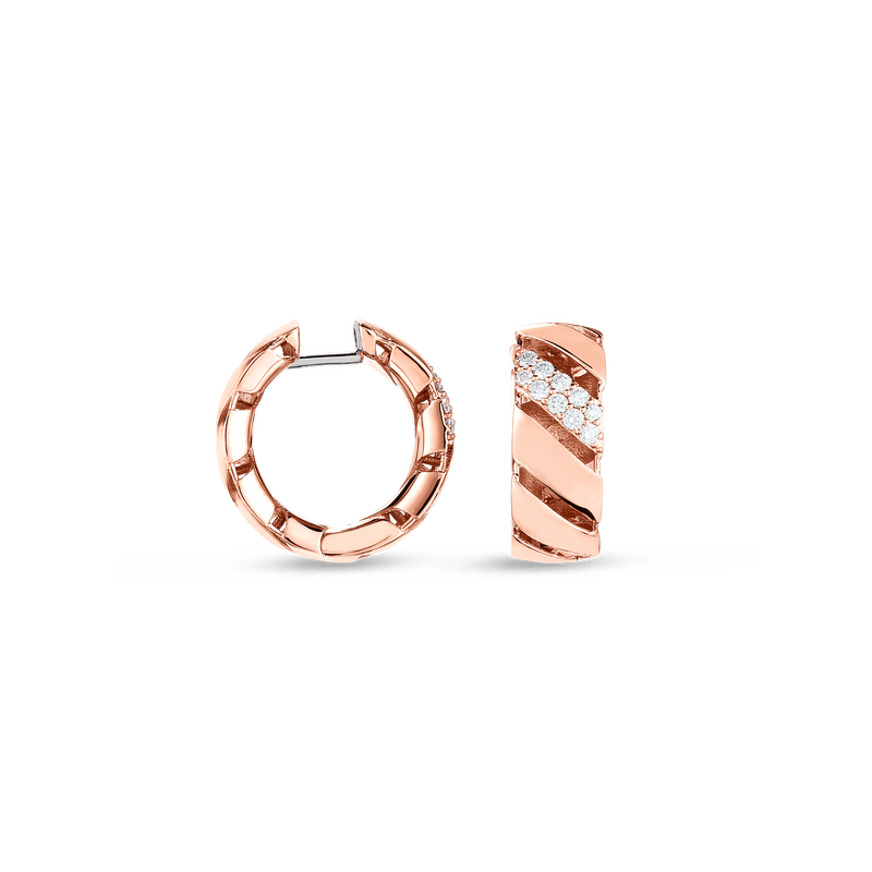 Diamond Torchon Huggie Earrings .27ct (18k Rose Gold)