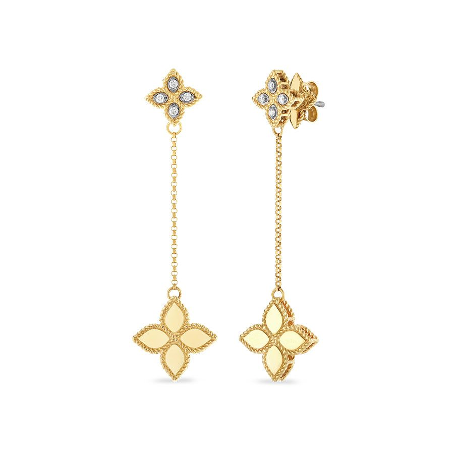 Diamond Drop Princess Flower Earrings .09cts  (18k Yellow Gold)