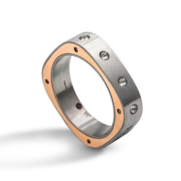 Mens Pois Moi Ring Size 10.5 (stainless Steel & 18k Rose Gold)