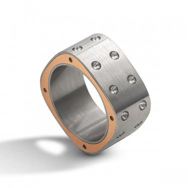 Mens 2 Row Pois Moi Ring Size 10.5 (stainless Steel & 18k Rose Gold)