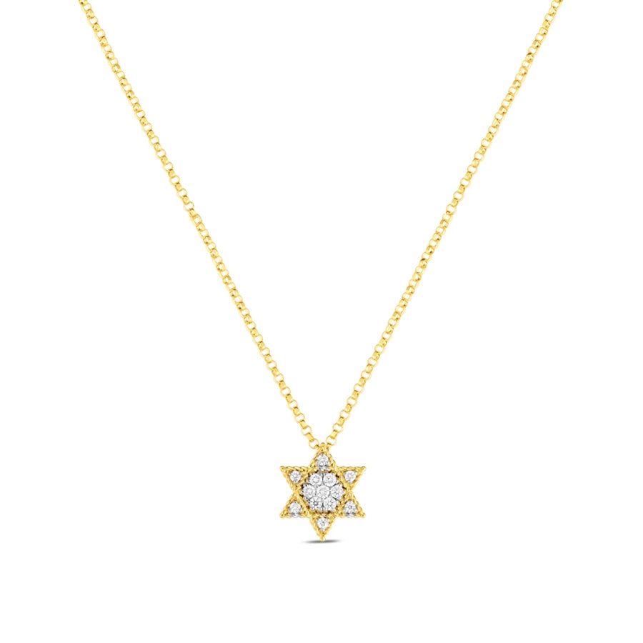 Diamond Princess Star of David Necklace .10ct  (18k Yellow Gold)