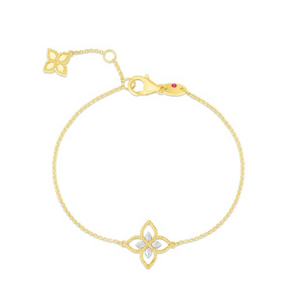 Open Princess Diamond Flower Bracelet (18k Yellow Gold)