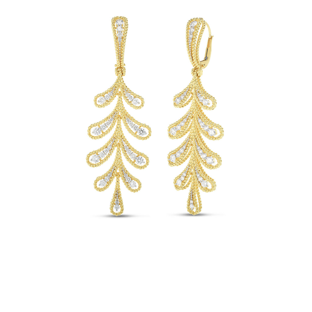 Diamond Byzantine Barocco Drop Earrings 1.30ctw  (18k Yellow Gold)