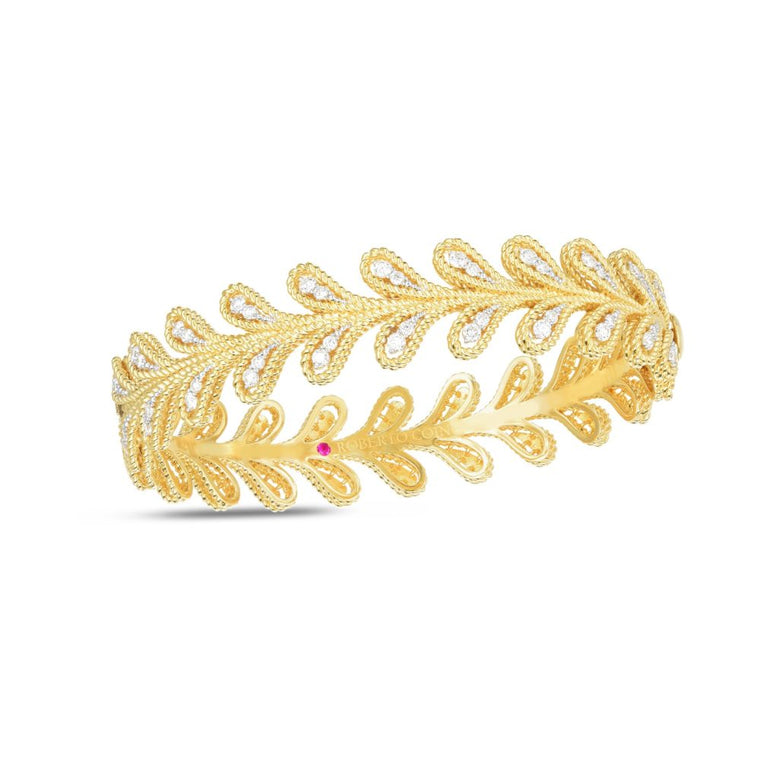 Diamond Byzantine Barocco Bangle Bracelet .94ct  (18k Yellow Gold)