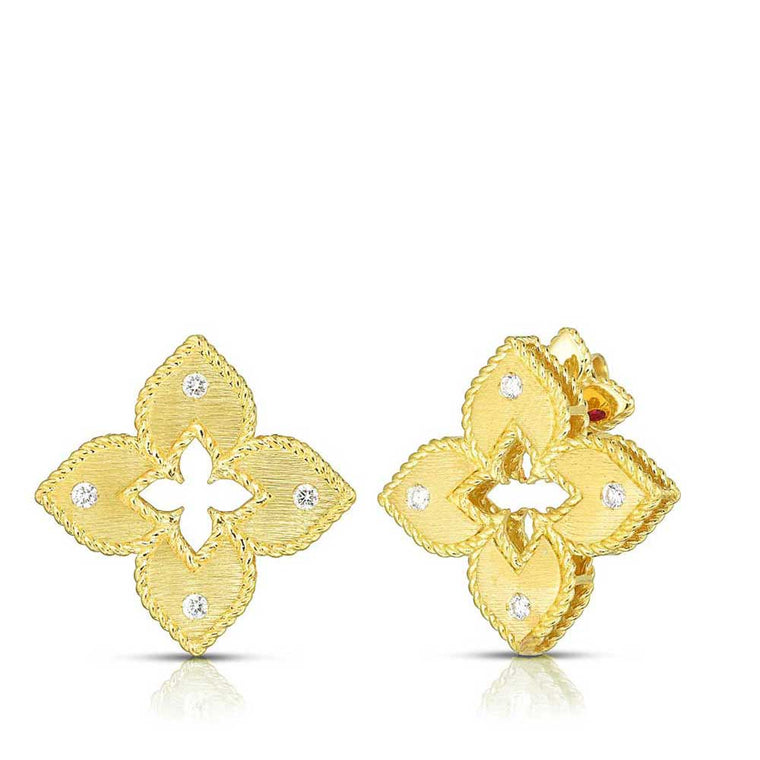 Diamond Petite Venetian Earrings (18k Yellow Gold)