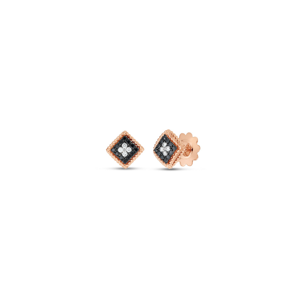 Black & White Diamond Palazzo Stud Earrings (18k Rose Gold)