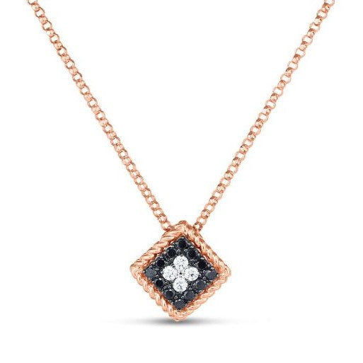 Black & White Diamond Palazzo Pendant Necklace (18k Rose Gold)