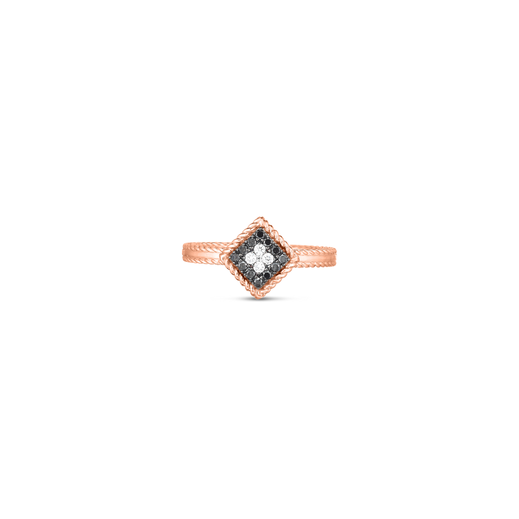 Black & White Diamond Palazzo Ring (18k Rose Gold)