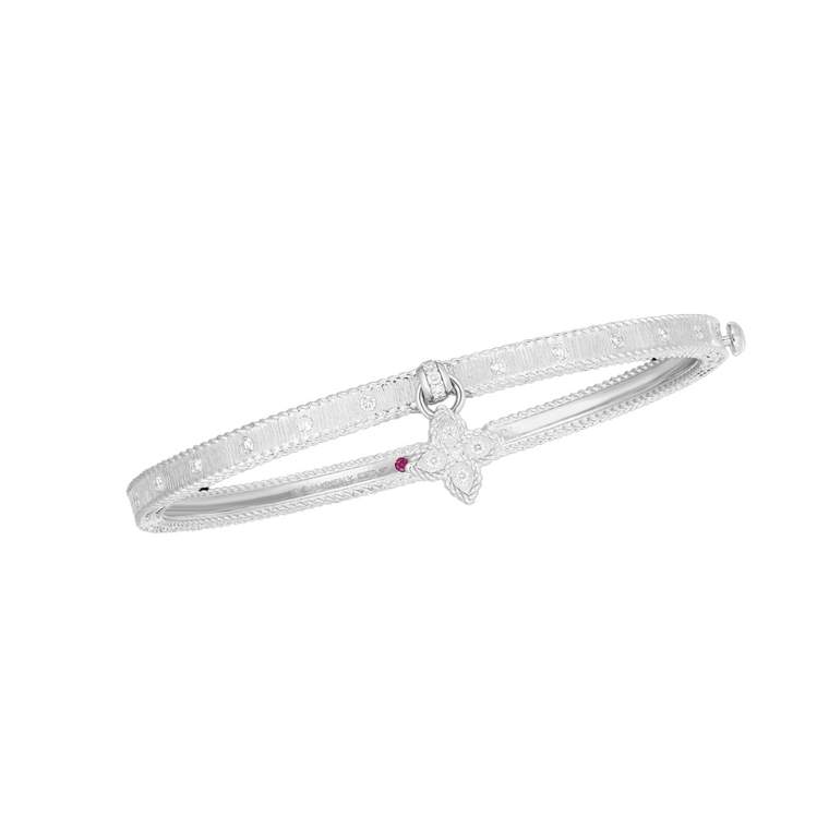 Diamond Flower Princess Bangle (18k White Gold)