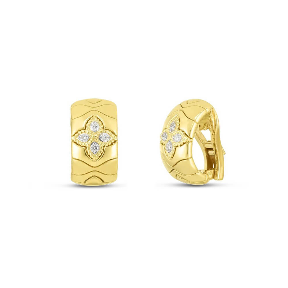 Diamond Royal Princess Flower Earrings .20ct  (18k Yellow Gold)