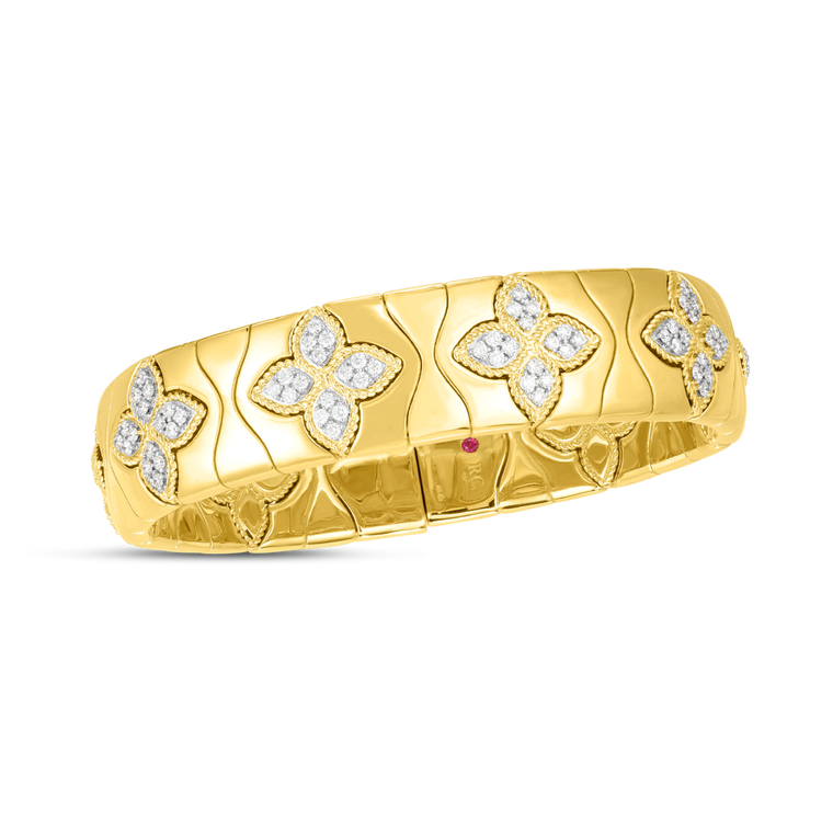 Diamond Royal Princess Flower Bangle Bracelet 1.48ct  (18k Yellow Gold)