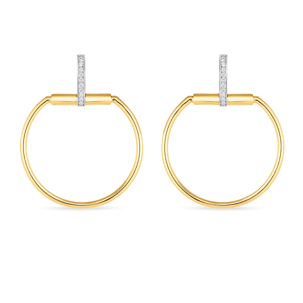 Diamond Classic Parisienne Circle Earring (18k White & Yellow Gold)