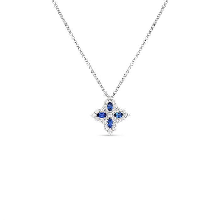 Diamond & Sapphire Princess Flower Pendant Necklace .60ct (18k White Gold)