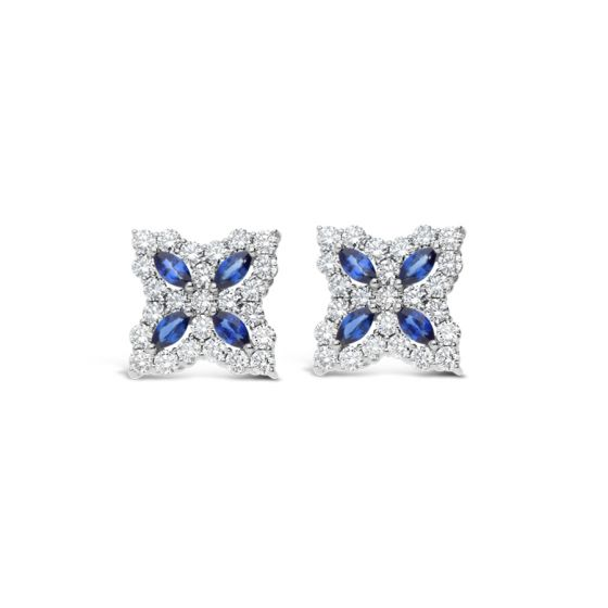 Diamond & Sapphire Princess Flower Stud Earrings 1.01ct (18k White Gold)
