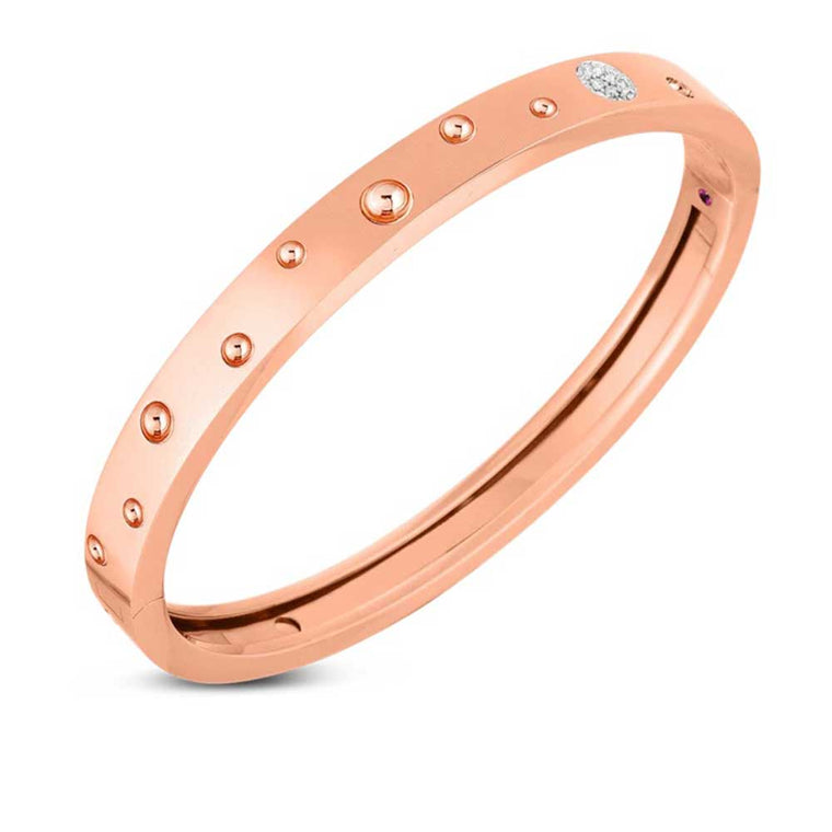 Diamond Pois Moi Luna Medium Bangle Bracelet (18k Rose Gold)
