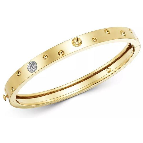 Diamond Pois Moi Luna Medium Bangle Bracelet (18k Yellow Gold)