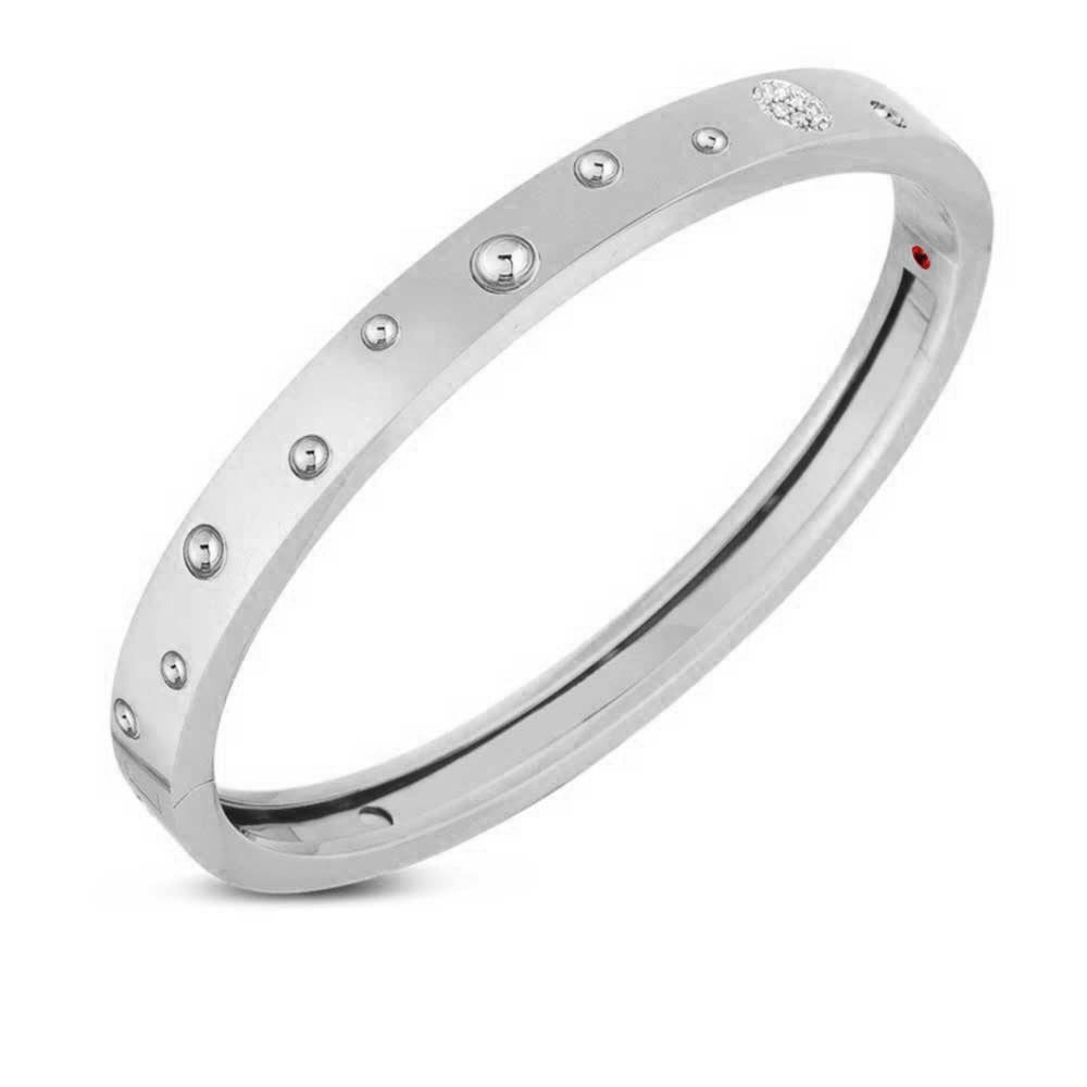 Diamond Pois Moi Luna Medium Bangle Bracelet (18k White Gold)