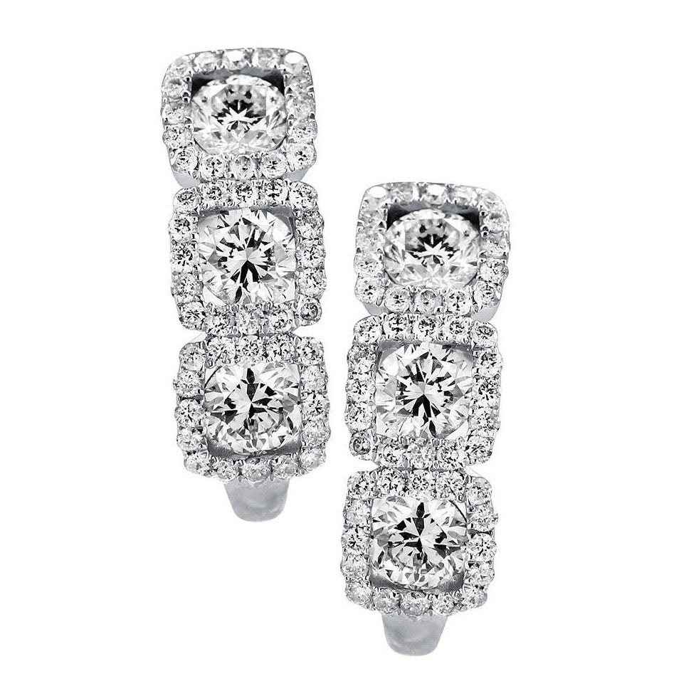 18k White Round Gold Diamond 3 Station Halo Hoop Earrings (1.42cts)