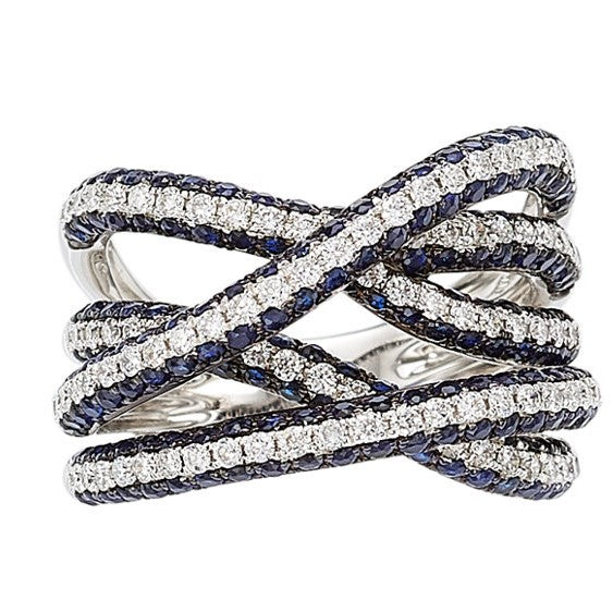 18k White Gold Sapphire & Diamond Twist Ring