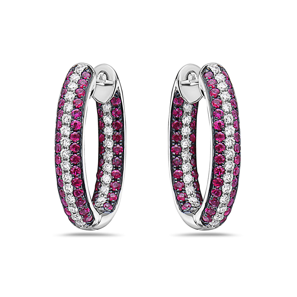 18k White Gold Diamond (.47ct) & Ruby (1.20ct) In-Out Hoop Earrings