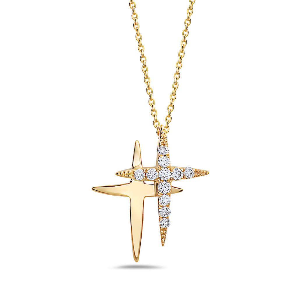 Afa01031 - 18k Yellow Gold Diamond Double Cross Pendant Necklace