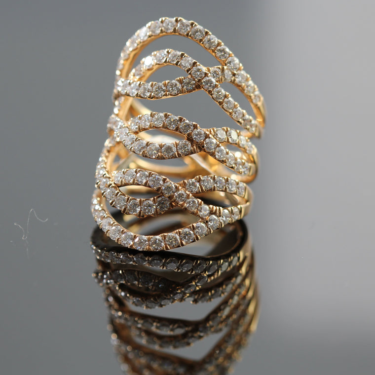 18k Rose Gold Pave Diamond Swirl Wide Ring Sz 6 (2.65cts)
