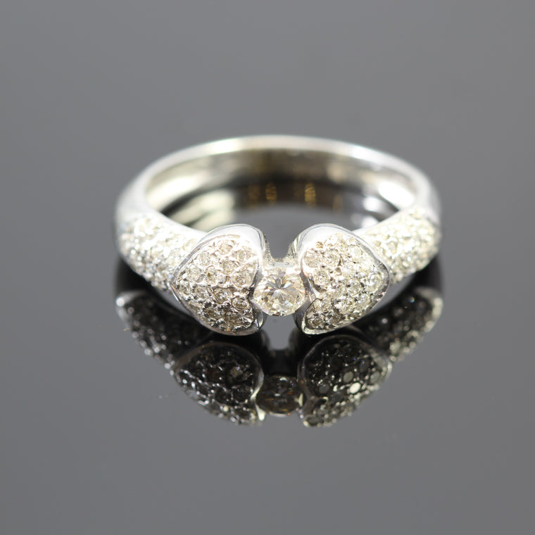 14k White Gold Double Pave Diamond Heart Ring (.50ct)