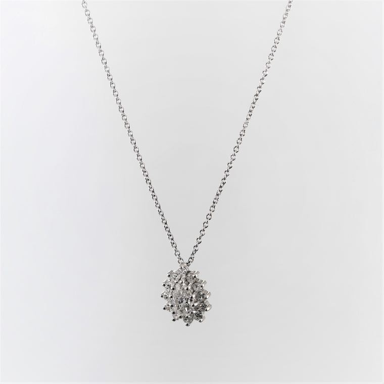 14k White Gold Diamond Cluster Pear Shaped Pendant Necklace (.75ct)