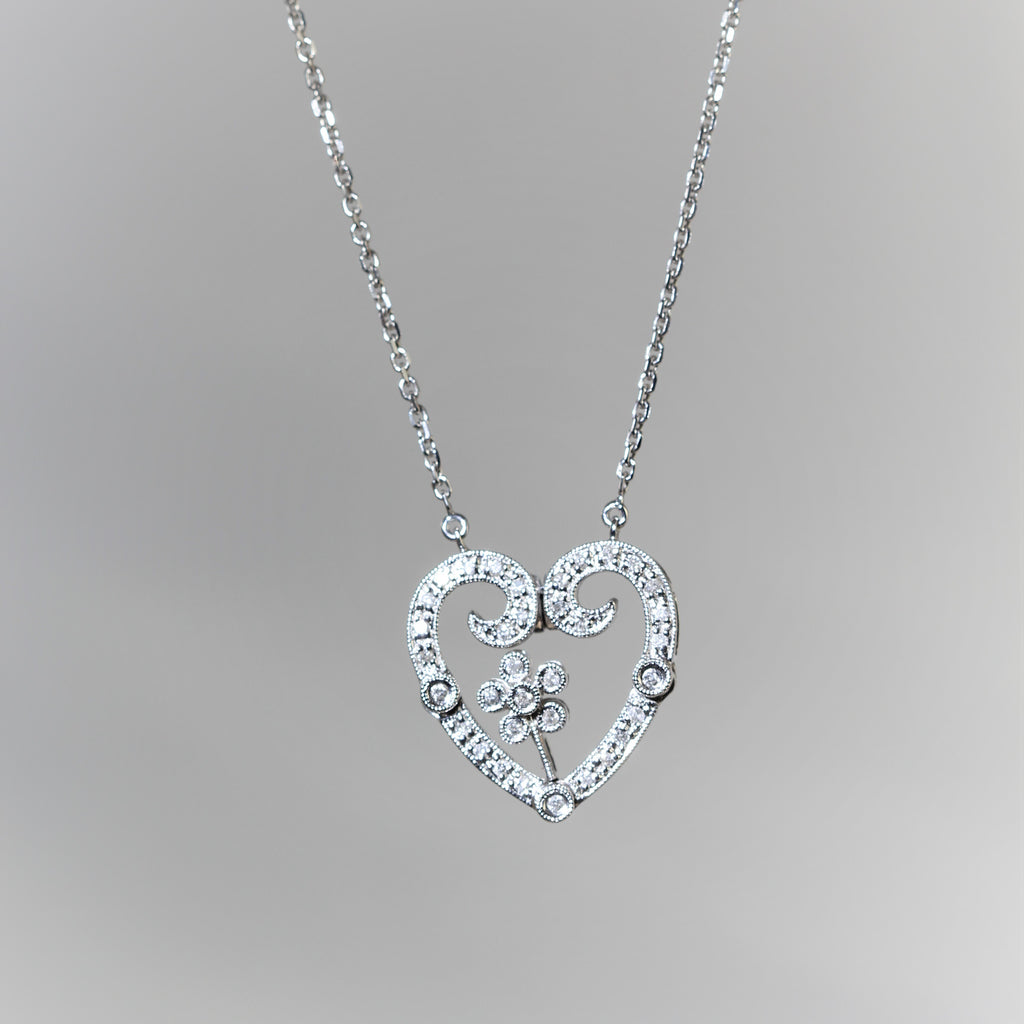 14k White Gold Diamond Heart & Flower Diamond Necklace (.50ct)