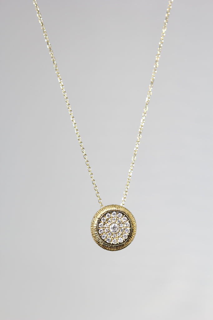 18k Yellow Gold Pave Diamond Pendant Necklace (.25cts)