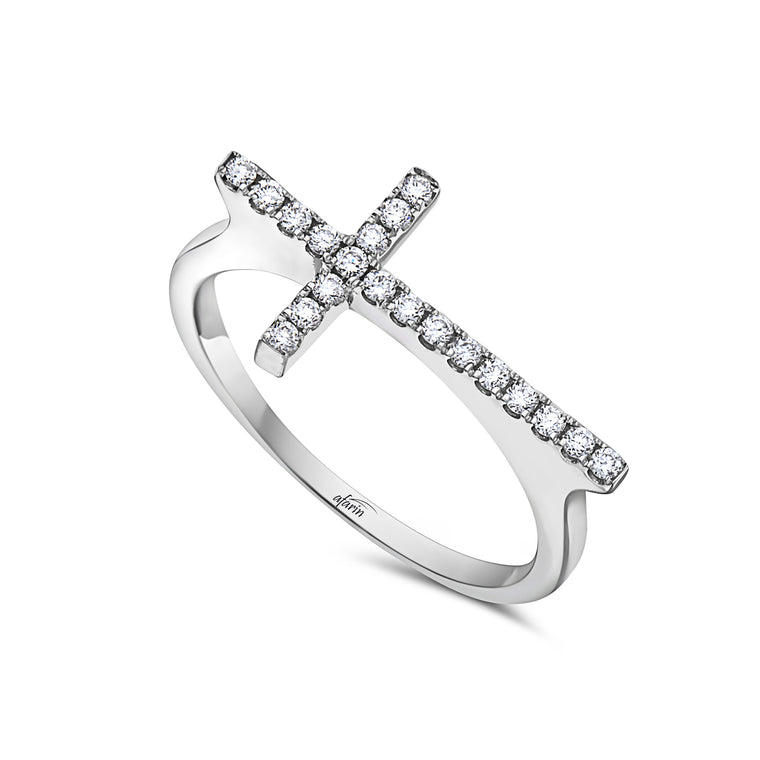 18k White Gold Diamond Cross Ring