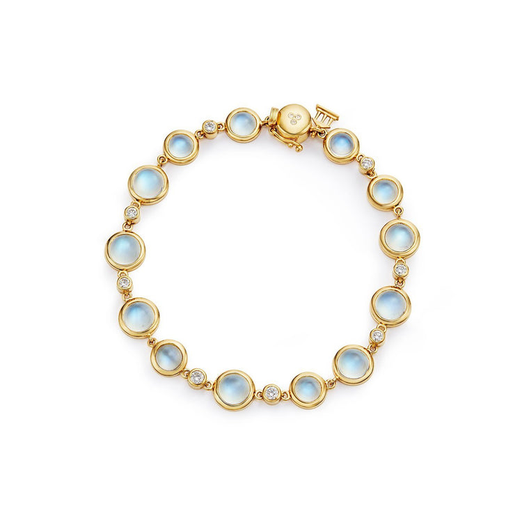 18k Yellow Gold Blue Moonstone & Diamond Bracelet