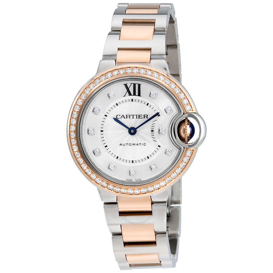 Stainless Steel & 18K Pink Gold 33mm Ballon Bleu with Diamond Bezel