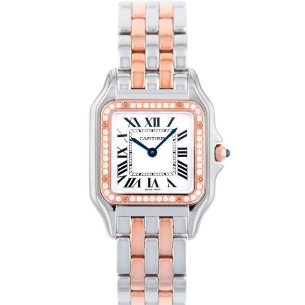 Stainless Steal 18K Pink Gold Medium Quartz Panthere with Diamond Bezel