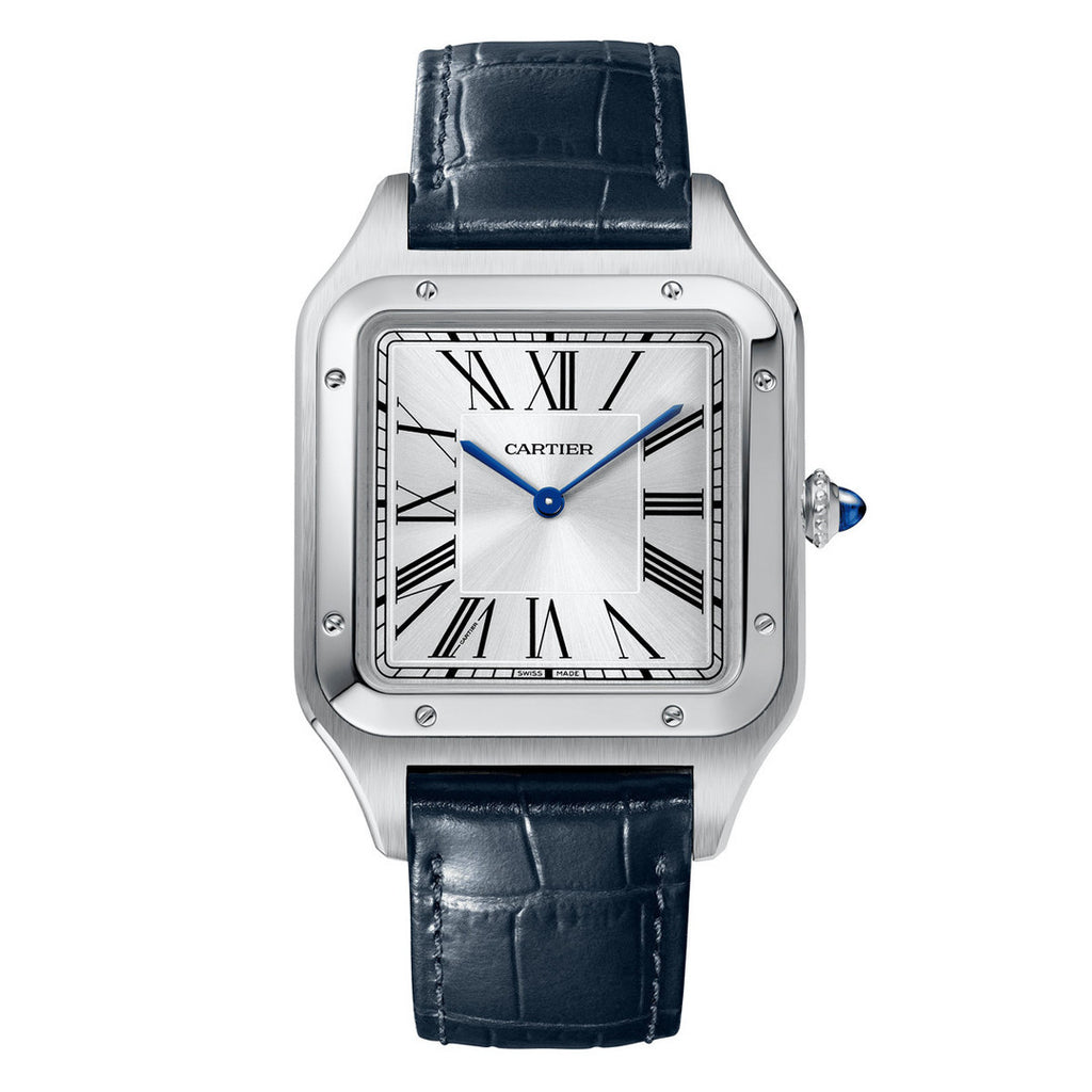Stainless Steel XL Santos Dumont with Navy Blue Strap