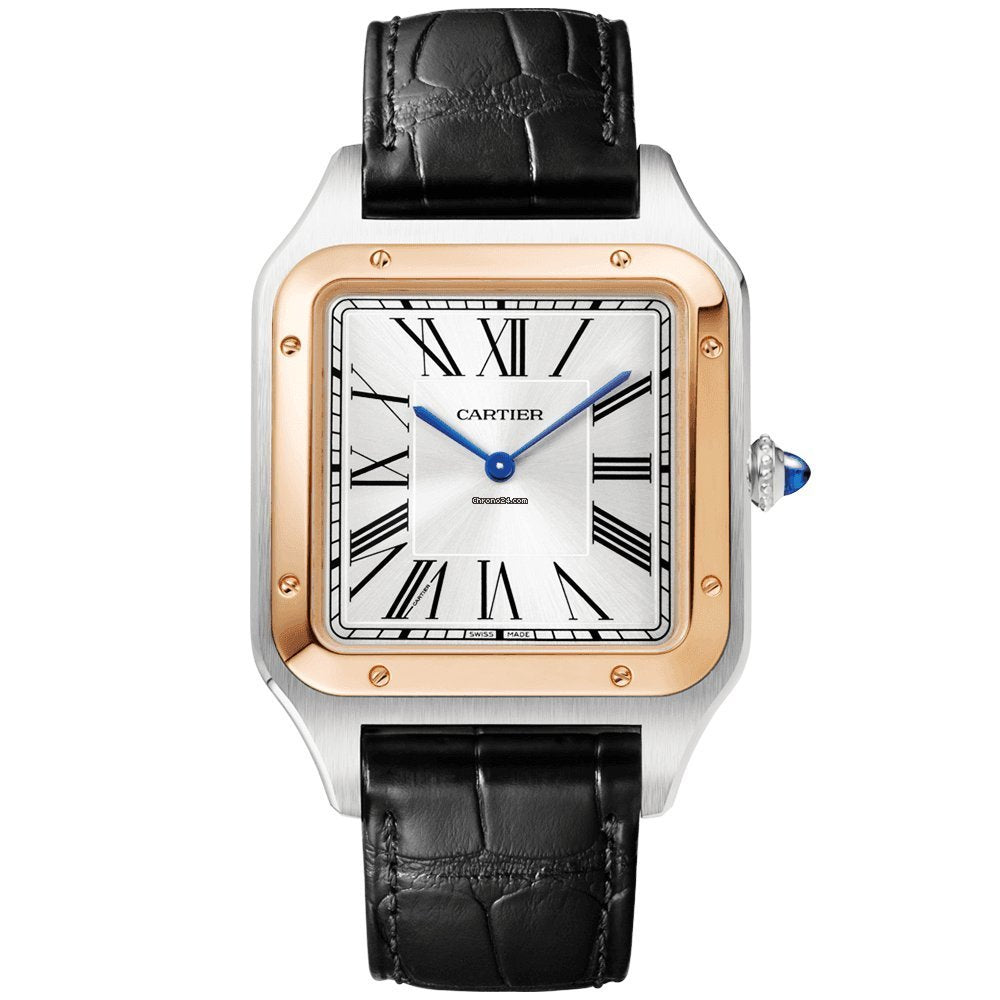 Stainless Steel 18k Yellow Gold XL Santos Dumont with Black Strap