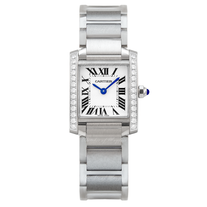 Stainless Steel Medium Quartz Tank Francaise with Diamond Pave Case