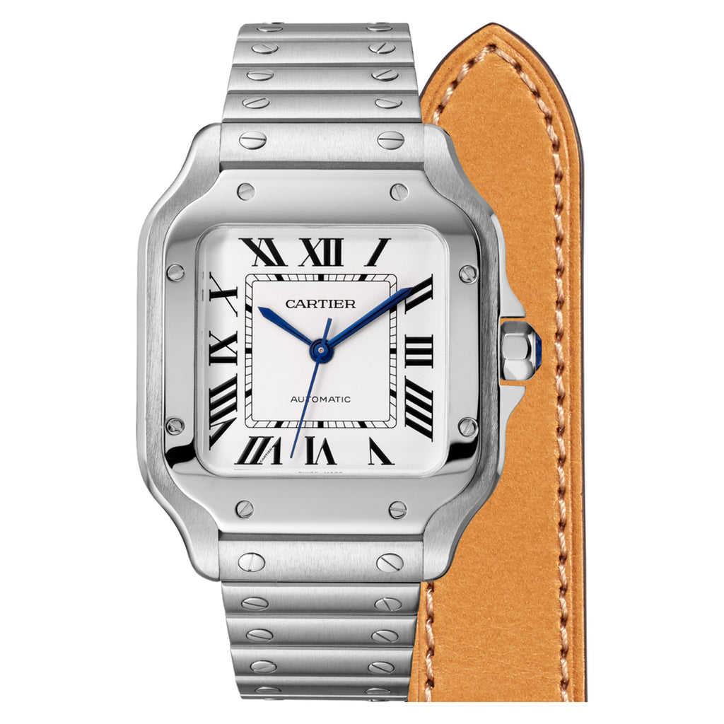 Stainless Steel Medium Auto Santos with Interchangeable Strap
