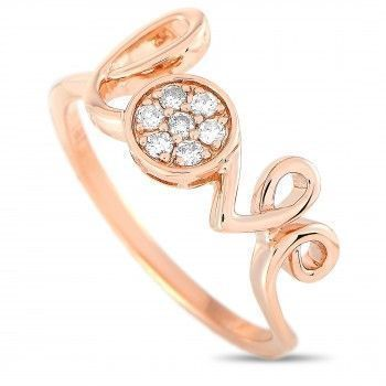 14K Rose Gold Diamond Cluster Love Ring