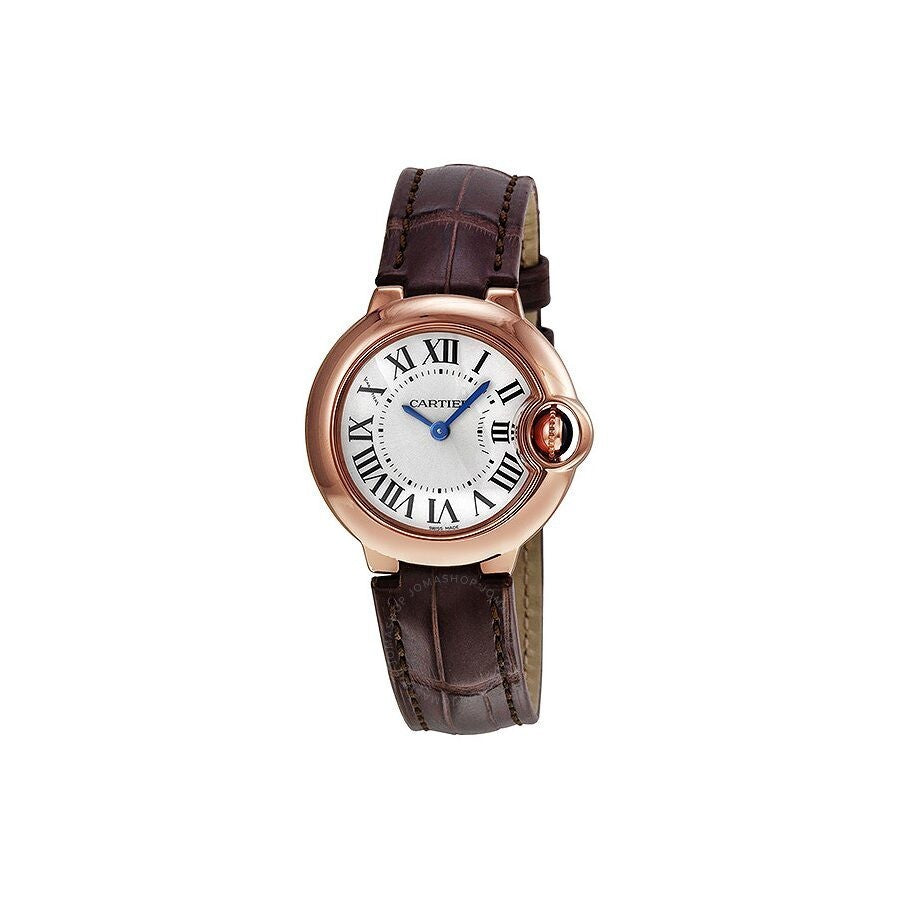 18 Pink Gold 33mm Auto Ballon Bleu with Brown Strap