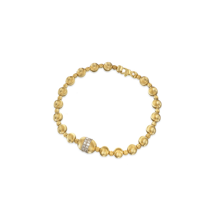 18k Yellow Gold Empire Gold Bead & Diamond Bracelet