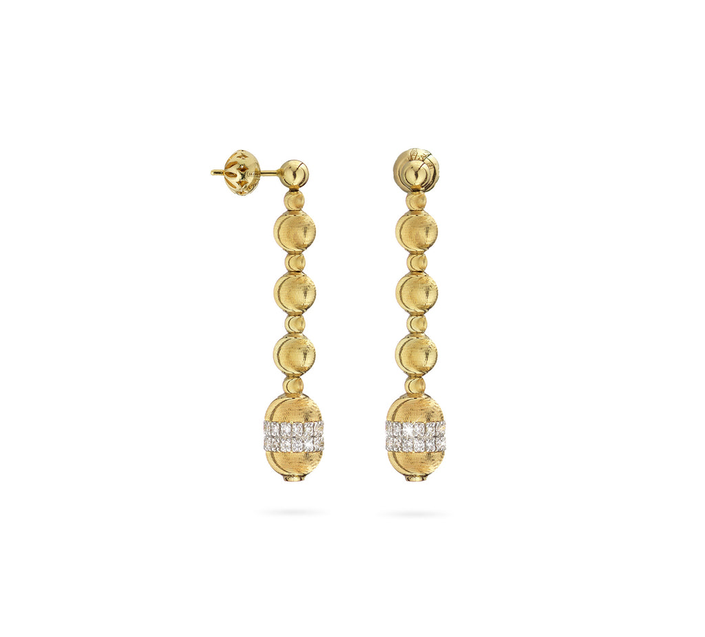 18k Yellow Gold Empire Bead & Diamond Drop Earrings