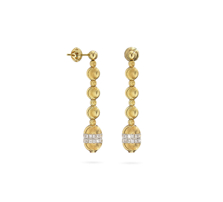 18k Yellow Gold Empire Nead & Diamond Drop Earrings