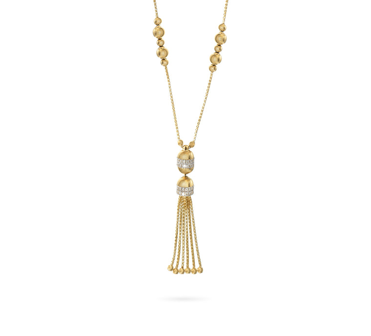 18k Yellow Gold Empire Bead & Diamond Tassel Long Necklace