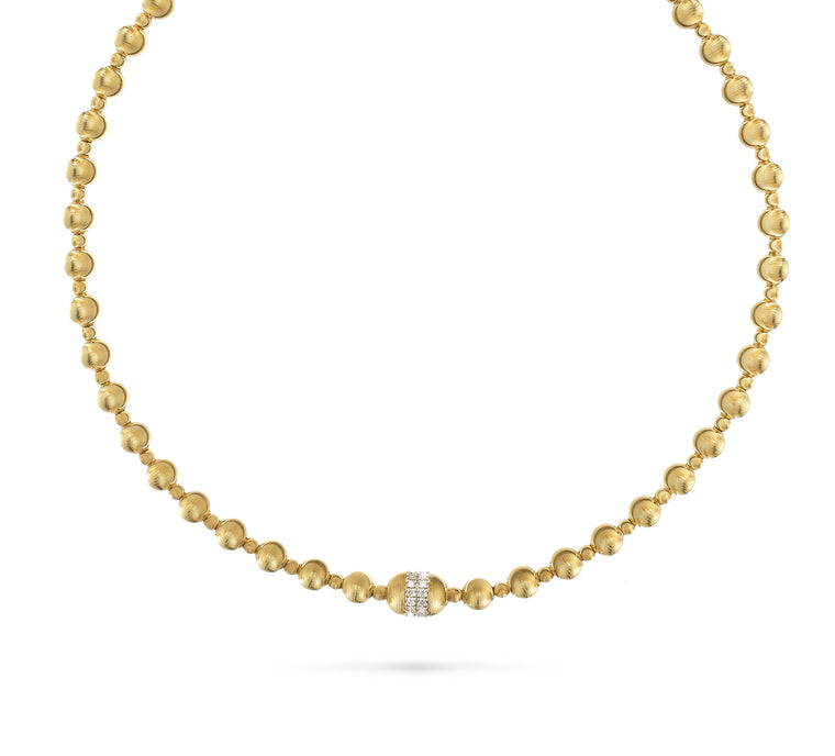 18k Yellow Gold Empire Bead and Diamond Short Necklace