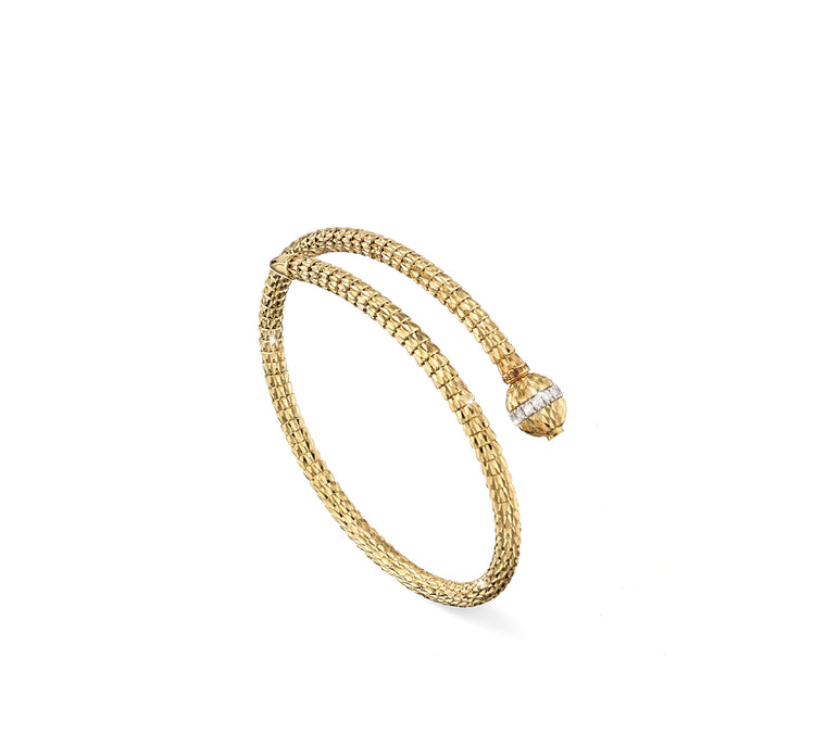18k Yellow Gold Ophidia Spiral & Diamond Bracelet