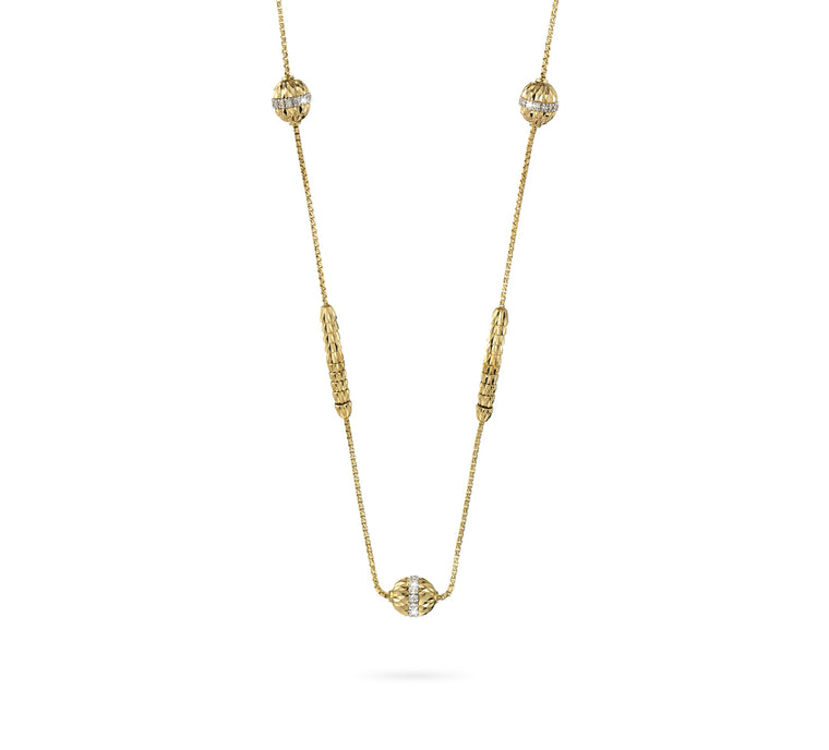 18k Yellow Gold Ophidia Spiral Bead & Diamond Long Necklace